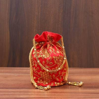 Designer Potli bag with rich embroidery work - Indian return gift