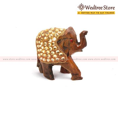 Wooden Glittering - Hand carved elephant made from wood return gift