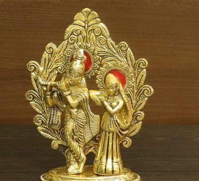 White metal gold finish Radha Krishna with frame return gift