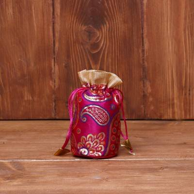 Potli bag golden satin with mango prints round base return gift