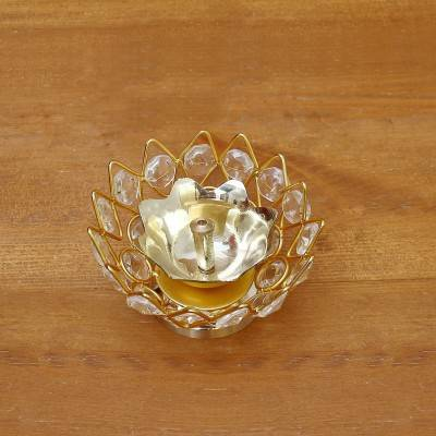 Decorative Bowl shaped Crystal and Brass Flower Diya 2.2 inch return gift