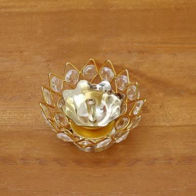 Decorative Bowl shaped Crystal and Brass Flower Diya 2.2 inch return gift