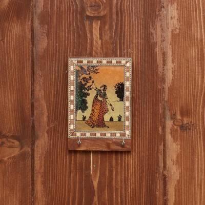 Wooden Gemstone Painting Key Hanger 4 X 3 inch return gift