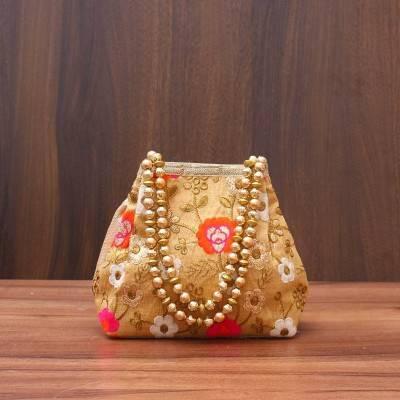 Designer Potli Bag with flower embroidery work - Indian return gift