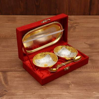 Silver & Gold Plated Bowl Set of 2 with Plate return gift