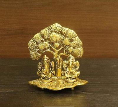 White metal gold finish Lakshmi Ganesha with tree small return gift