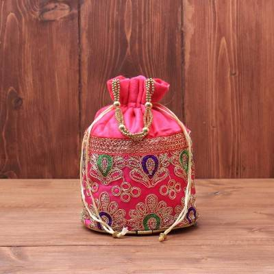 Velvet Potli bag with thread embroidery work & beaded handle return gift