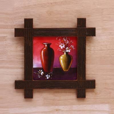 Wooden Wall Hanging Jute Art Flower Vase Painting 9 x 9 return gift