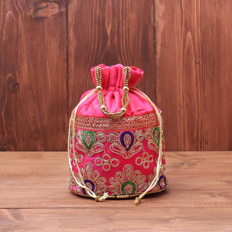 Velvet Potli bag with thread embroidery work & beaded handle return gift