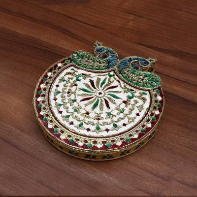 Minakari Dry Fruit Box with Double peacock - Indian return gift