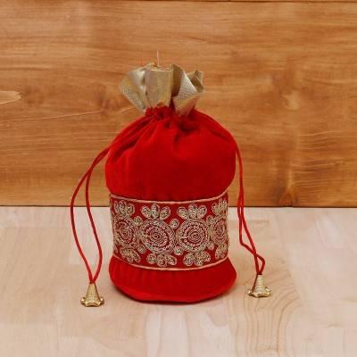 Potli Bag velvet with golden thread embroidery return gift