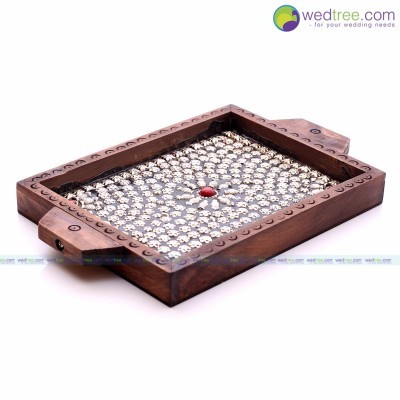 Wooden Tray - Serving tray made of wood with Metal Flower Design return gift