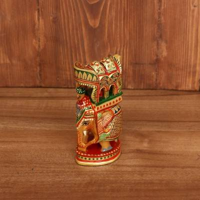 Wooden Hand Painted Ambabari Elephant 5 inch return gift