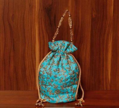 Potli bag raw silk with rich embroidery work return gift