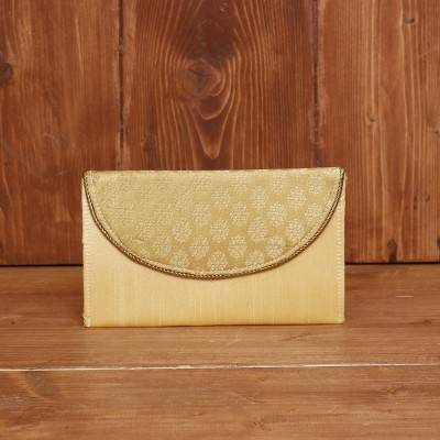 Raw Silk Clutch with Golden Flower Print return gift