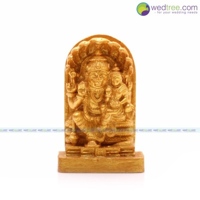 Idol Lakshmi narasimhar - Lakshmi narasimhar idol made of elastic fibre in gold colour return gift