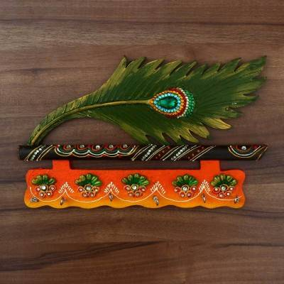 Paper Mache Key Hanger with Peacock feather & Flute - 14 inch Indian return gift