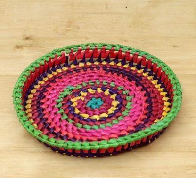Palm leaf round tray return gift