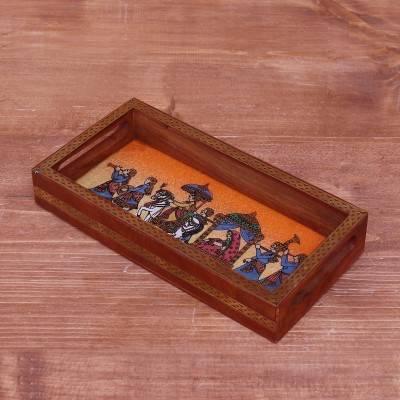 Dark Wood  Gemstone painting tray 8 X 4 inch return gift