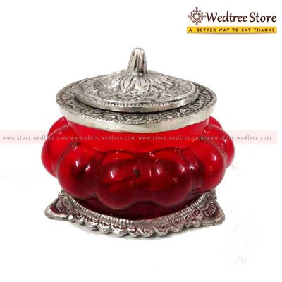 Kuber Pot - Kuber pot as the name says is a glass pot with lord kuberas foot print inside the pot return gift