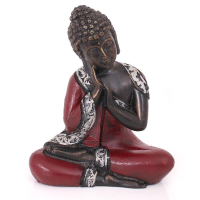 Marble Dust Thinking Buddha - Marble Dust Thinking Buddha with Hand Painting