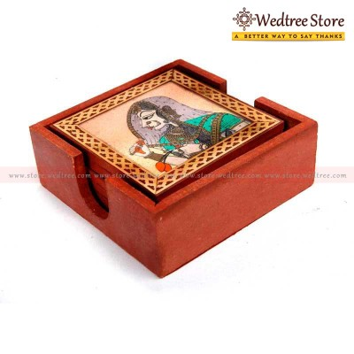 Wooden Gemstone - Wooden box of 6 gem stone coasters return gift