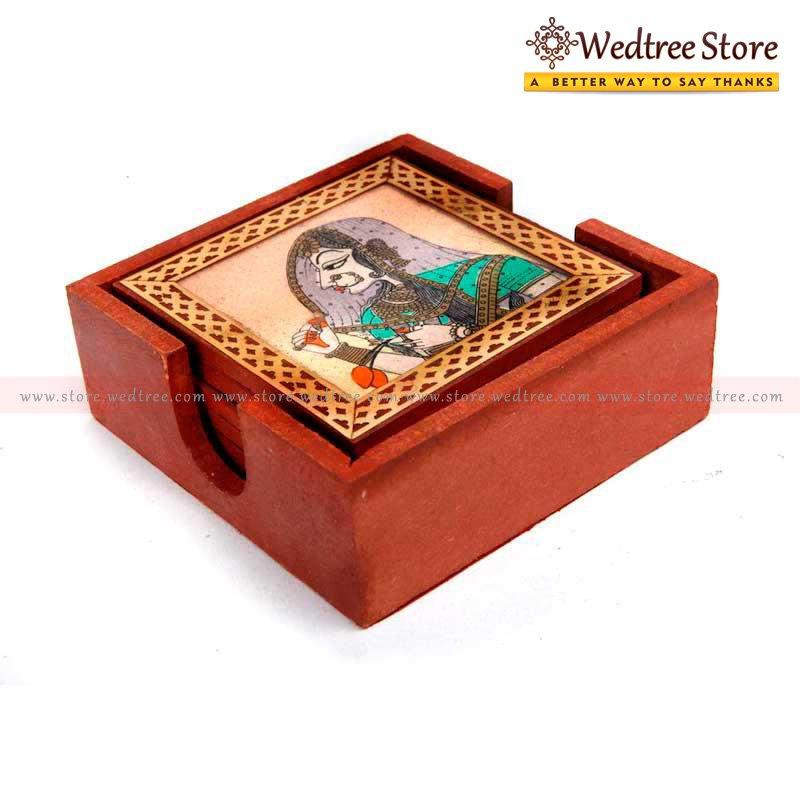Wooden Gemstone - Wooden box of 6 gem stone coasters return gift