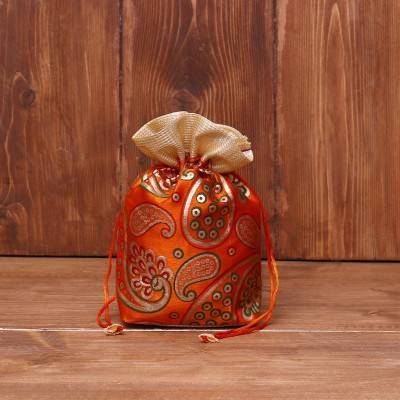 Potli bag golden satin with mango prints return gift