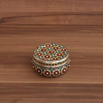 Minakari Dabba with Stone work 4 inch return gift