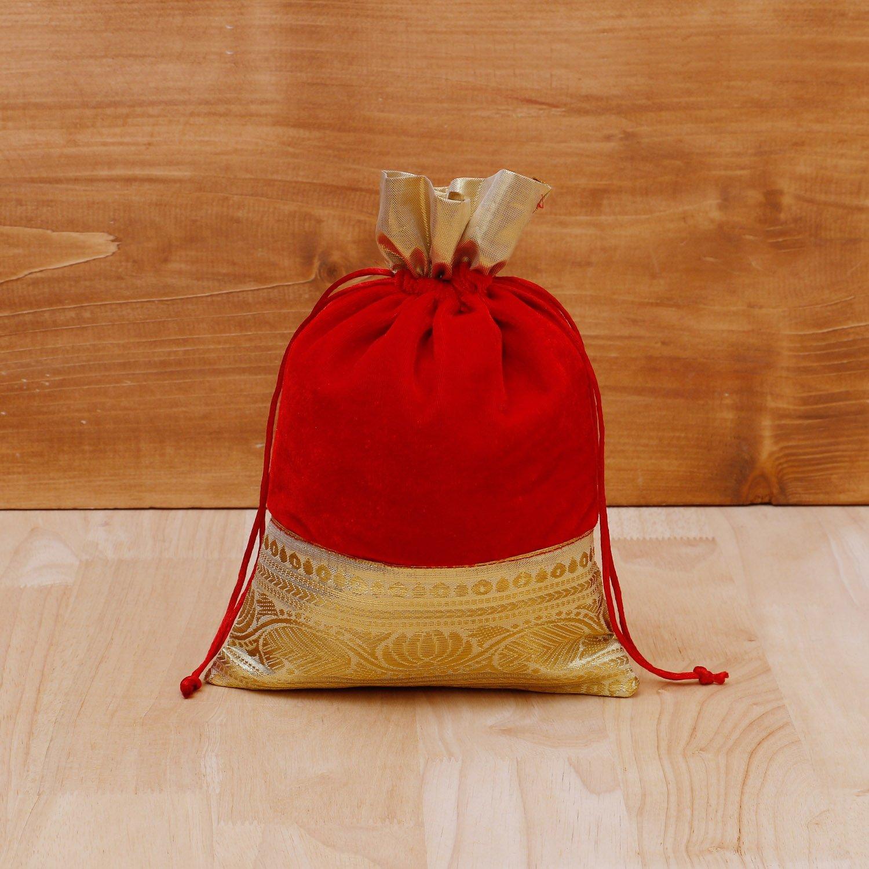 String Bag velvet with golden floral zari lace return gift