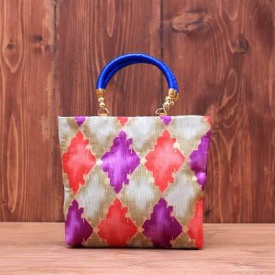 Hand bag raw silk diamond design return gift