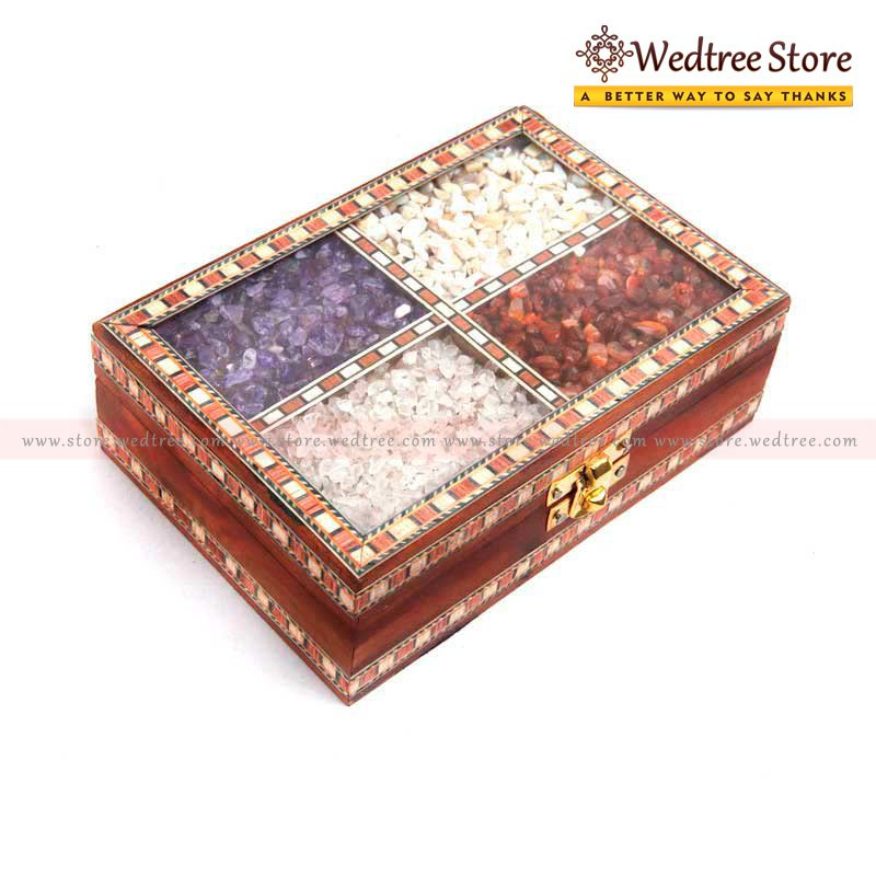 Wooden Gem Stone - Traditional jewellery box made of wood return gift