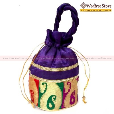 Potli Bag  - A Rich Satin Potli bag with traditional mango design return gift