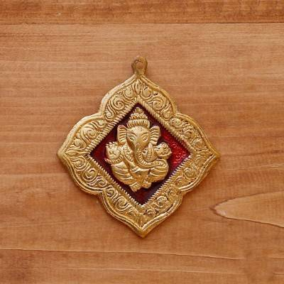 White Metal Pendant Ganesha Golden Minakari Big return gift