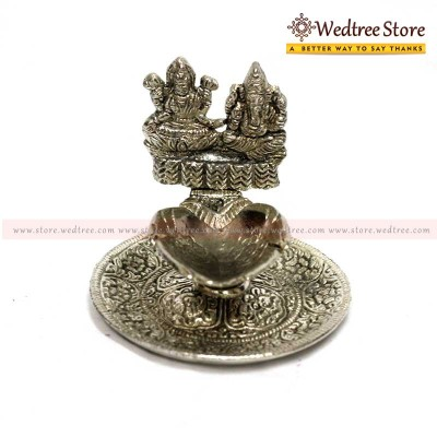 Oxidised Lakshmi Ganesh - This beautiful Diya is handcrafted with intricate designs and patterns return gift