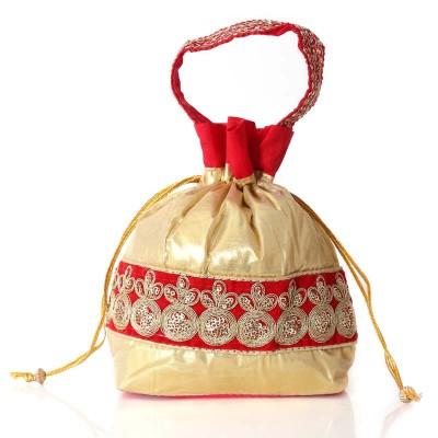 Potli Bag - Potli bag with golden satin and embroidery work  return gift