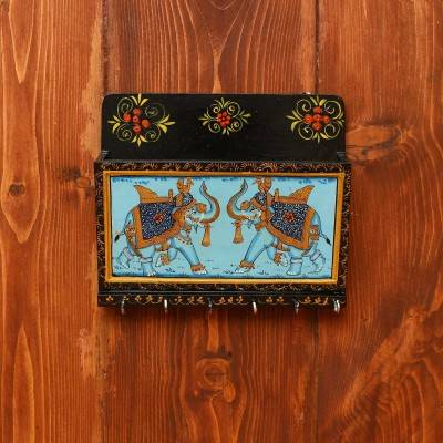 Wooden Hand Painted Letter Pad with Key Hanger 8 X 7 inch return gift