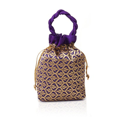 Potli Bag - Potli bag with rich raw slik made of flower design return gift