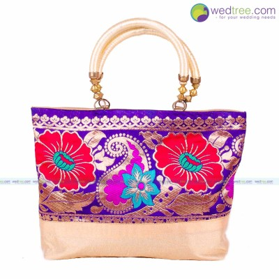 Hand Bag   Hand Bag Made Of Raw Silk With Mango U0026 Flower Design Return Gift