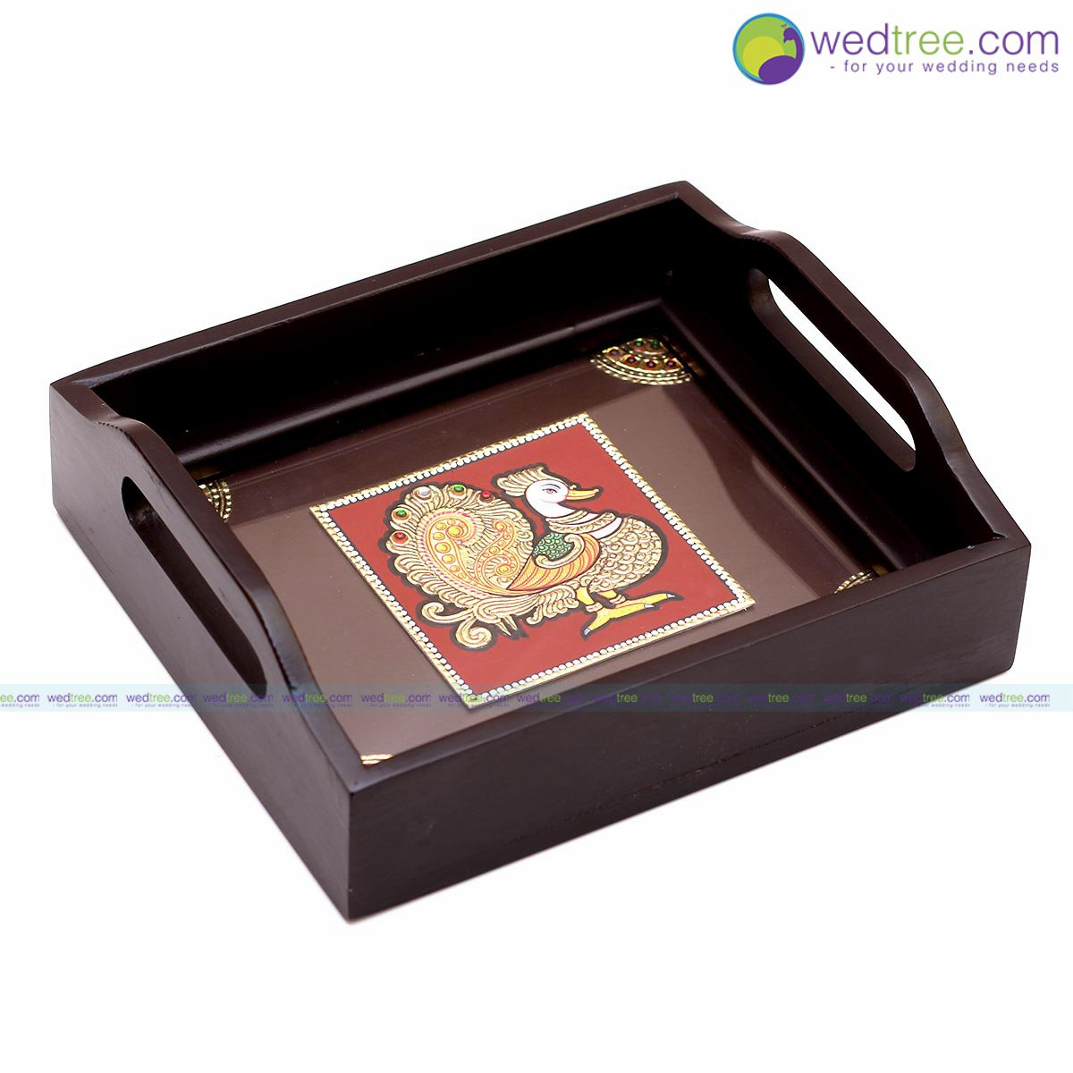 Tanjore painting - Tray made of Tanjore painting with peacock design beautifully designed on it return gift