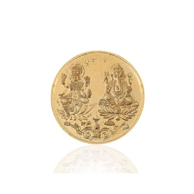 Lakshmi coin - Lakshmi ganesha coin made of german silver with gold plated return gift