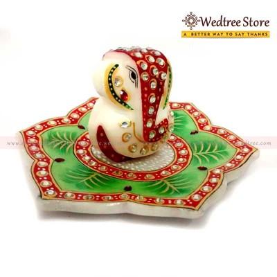Marble Ganesha on Lotus Leaf - Marble Ganesha on a lotus leaf.