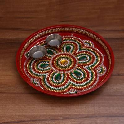 Decorative plate with kum kum Holder Indian return gift
