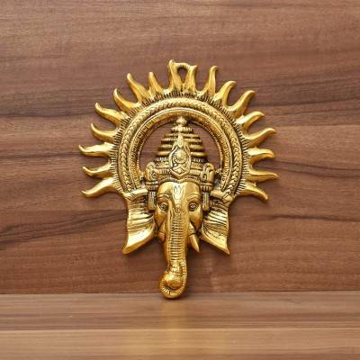 White metal Oxidised Kiran Ganesha wall hanging gold finish return gift