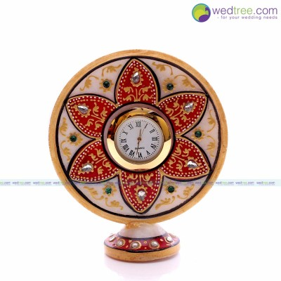 Clock Stand - Clock is made of marble with flower design return gift