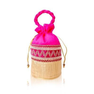 Potli Bag - Potli Bag made of raw silk with rich golden zari return gift