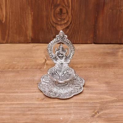 White Metal Ganesha with Hand Diya Oxidised Finish return gift