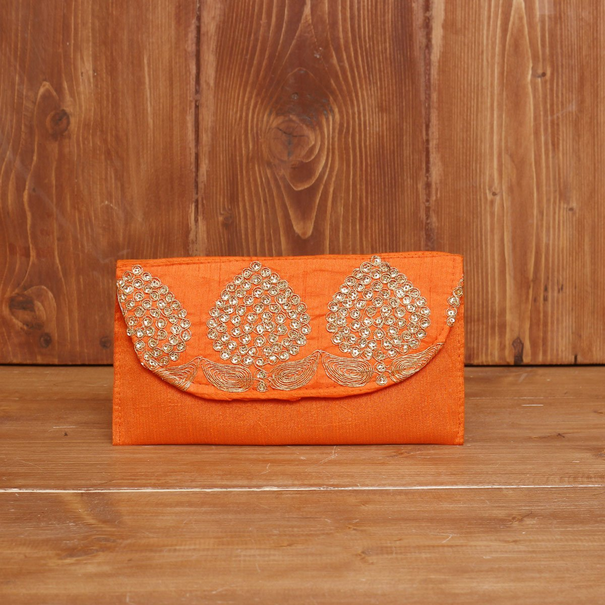 Raw Silk Clutch with Golden Thread Embroidery return gift